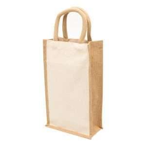 Eco Jute 2 Bottle Wine Bag at Coast Image Wear